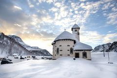 Passo San Pellegrino. Little church situated in the Dolomites, at Passo San Pellegrino. Ski resort, Ski slope. Mountains alps. Moe stock photos