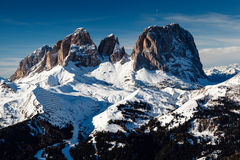 Passo Sella Peak on the Ski Resort of Canazei Royalty Free Stock Photo