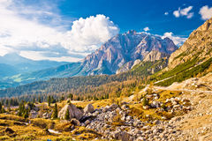 Passo Valparola high alpine pass and Cunturines-Spitze peak Stock Photos