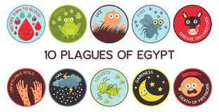 Passover δέκα πανούκλες του διανύσματος κινούμενων σχεδίων της Αιγύπτου στοκ εικόνες