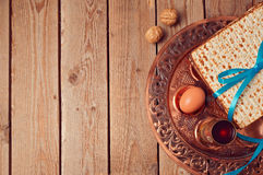 Passover background with matzo and vintage seder plate. Stock Image