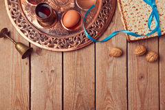 Passover background with matzo, wine and old seder plate. View from above Stock Photography