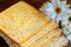 Passover background. matzoh jewish holiday bread and flowers on gerbera Royalty Free Stock Images