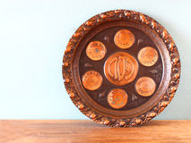 Passover background  plate  jewish passover bread  over wooden background Stock Photography
