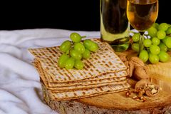 Passover background with wine bottle, matzoh,. Top view of passover background Royalty Free Stock Photo