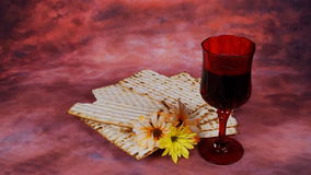 Passover background. wine and matzoh jewish holiday bread over wooden board. stock video footage