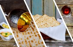 Passover background. wine and matzoh jewish holiday bread over wooden board. Photo collage different picture. Symbols of Passover background. wine and matzoh Royalty Free Stock Photos