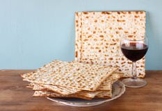 Passover background. wine and matzoh (jewish passover bread) Royalty Free Stock Image