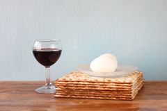 Passover background. wine and matzoh (jewish passover bread) Royalty Free Stock Photos