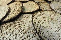 Passover Dinner Celebrations. Hand made glatt kosher matzah for the Jewish holiday of Passover Royalty Free Stock Photo