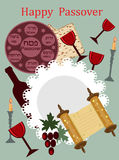 Passover greeting card. Passover background with objects of holiday Stock Photography
