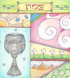 Passover Greetings. Colored pencils greeting card for Passover Stock Photo