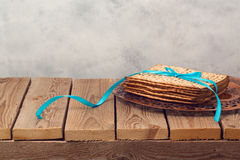 Passover holiday background with matzoh Stock Images