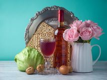 Passover holiday celebration concept. With wine, matzo and seder plate Stock Photography