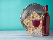 Passover holiday celebration concept. With wine, matzo and seder plate Royalty Free Stock Photos