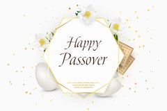 Passover holiday. Decorative frame with eggs, matzo, flowers, grass. Design template.  illustration. Royalty Free Stock Images