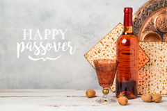 Passover holiday greeting card with wine and matzoh Royalty Free Stock Photography