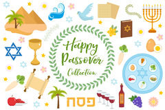 Passover icons set. flat, cartoon style. Jewish holiday of exodus Egypt. Collection with Seder plate, meal, matzah, wine. Torus, pyramid. Isolated on white Royalty Free Stock Image