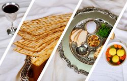 Passover jewish food Pesach matzo and matzoh bread Photo collage different picture. Pesah celebration concept jewish Passover holiday passover jewish food Pesach Stock Image