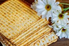 Passover jewish food Pesach matzoh white gerbera Stock Image