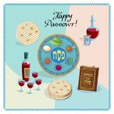 Passover Jewish Holiday Pesach seder symbols. Happy Passover lettering, Jewish Holiday symbols, icons set, four wine glass, matza - jewish traditional bread for stock illustration