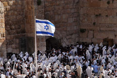 Passover Jewish Holiday at the Western Wall. JERUSALEM - APRIL 07: Orthodox Jewish Pray at the Western Wall during the holiday of Passover in Jerusalem, Israel Royalty Free Stock Image