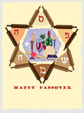 Passover jewish star. Decorative jewish star with passover objects Stock Photography