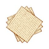 Passover matzah, unleavened bread. Matzah or matzo, unleavened bread for Pesach, Jewish holiday of Passover, isolated on white background, design element Royalty Free Stock Image