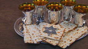 Passover matzo passover wine. Torah pesah jewish culture stock video footage