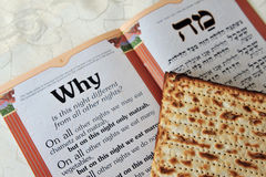 Passover Matzo Sheet and Haggadah. Traditional Jewish Matzo sheets on a Passover Seder table. Passover is a Jewish holiday festival. It commemorates the Exodus Royalty Free Stock Image