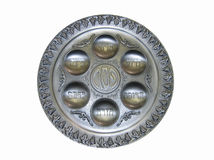 Passover. Pesah.. Silver plate for Passover. Seder. Isolated Stock Photography