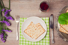 Passover (pesah) holiday table setting with seder plate and matzoh. View from above Stock Images