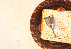Passover plate and matzoh Royalty Free Stock Photo