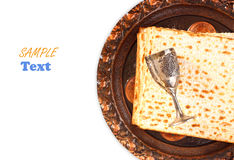 passover plate and matzoh isolated Stock Images