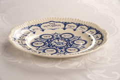 Passover Plate. On white linen table cloth Royalty Free Stock Photos