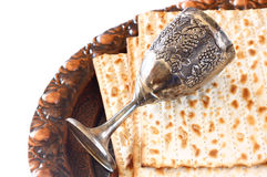 Passover plate wine cup and matzoh Royalty Free Stock Images