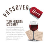 Passover sale wine and matzoh background EPS 10 vector Stock Image
