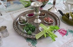 Passover Seder. Jewish Holidays: Traditional Seder Plate for Passover Meal Royalty Free Stock Photos