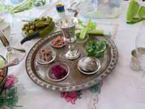 Passover Seder. Jewish Holidays: Traditional Seder Plate for Passover Meal Royalty Free Stock Image
