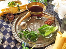 Passover Seder. Jewish Holidays: Traditional Seder Plate on Passover Table Royalty Free Stock Images