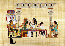 Passover Seder with Pharaoh. An imaginary Drawing of a modern little boy sitting in Passover Seder with the Pharaoh Family Stock Photography