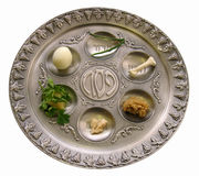 Passover seder plate. Passover, white background. Passover seder plate Royalty Free Stock Photo