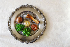 Passover Seder Plate. Traditional seder plate for the Jewish festival of Passover Royalty Free Stock Image