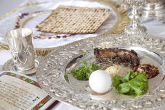 Passover Seder Plate. Traditional symbols on a seder plate for the Jewish festival of Passover stock photography