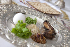Passover Seder Plate. Traditional symbols on a seder plate for the Jewish festival of Passover royalty free stock images