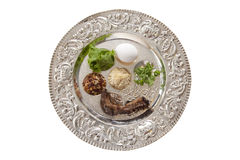 Passover Seder Plate. Traditional symbols on a seder plate for the Jewish festival of Passover stock images