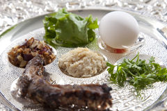 Passover Seder Plate. Traditional symbols on a seder plate for the Jewish festival of Passover stock image