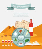 Passover seder plate with flat trasitional icons over a desert background Stock Photos