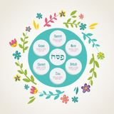 Passover seder plate with floral decoration. Vector illustration Stock Photo