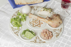 Passover Seder Plate. Jewish seder plate. Six foods make up this passover meal Stock Photo